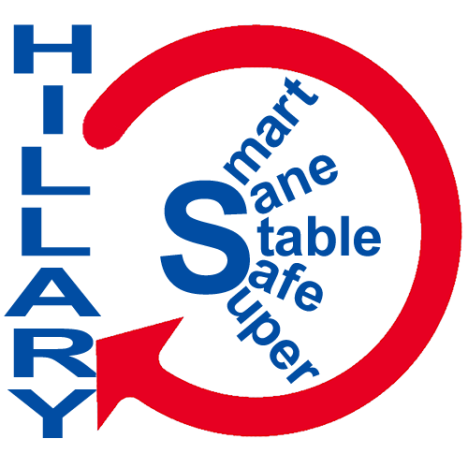 The logo Hillary Clinton should have had. This is my proposed logo for the Hillary Clinton for President campaign. Using five strengths of Hillary - smart, sane stable, safe, and super. Clear, concise, and easily understood this gets the message across to the viewer why they should be in favor of Hillary. The circle shows Hillary expressing these qualities which in-turn reinforce who she is. Now available at www.zazzle.com/hillaryrclinton for a limited time!