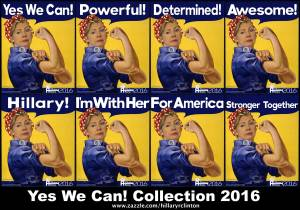 "The Yes We Can! series consist of eight versions of Hillary Clinton image imposed on the iconic ""We Can Do It!"" American wartime poster. Westinghouse Electric enlisted artist J. Howard Miller during World War II for an inspirational poster to boost worker morale. The eight titles are Yes We Can!. Powerful!, Determined!, Awesome!, Hillary!, I'm With Her!, For America, and Stronger Together. Now available at www.zazzle.com/hillaryrclinton for a limited time."